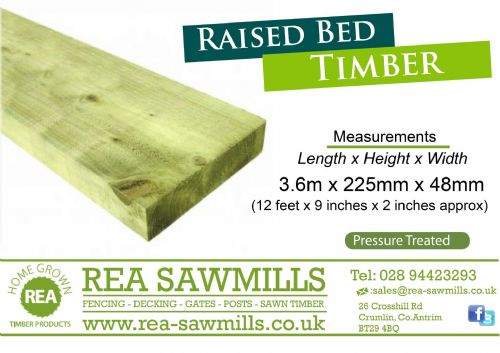 Raised Bed Timber 3.6m x 225mm x 48m Pressure Treated